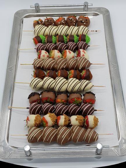 Chocolade aardbeien spies